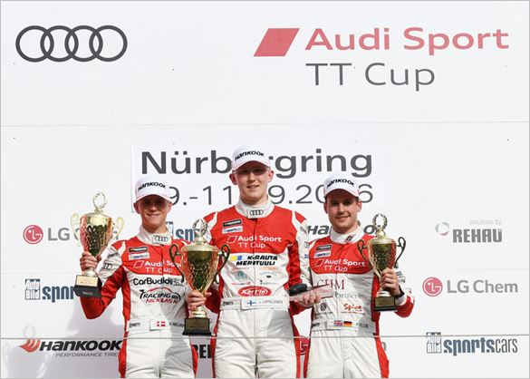 Joonas Lappalainen celebrates brace of wins in Audi Sport TT Cup at the Nürburgring