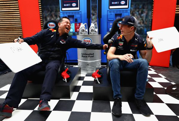 Max Verstappen helps give away a year's supply of Esso Synergy TM fuel