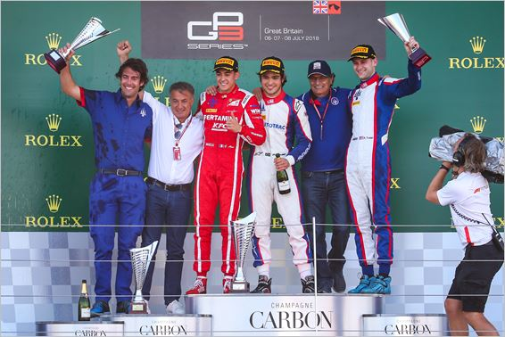 Trident Team with  1-2-3 GP3 podium in Silverstone Sprint race