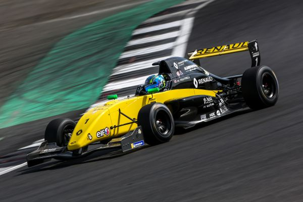 Max Fewtrell marks his turf at Silverstone