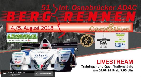 Live stream of the Int. 51st Hill Climb Race Osnabrück on 4-5 August