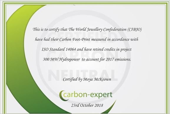 CIBJO certified as being carbon neutral for fifth consecutive year
