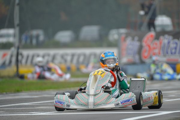 Laurens van Hoepen on podium in the WSK Final Cup