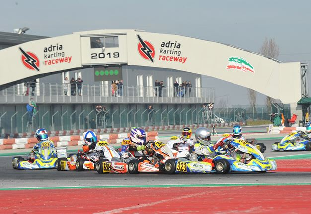Qualifying heats at the WSK Champions Cup in Adria
