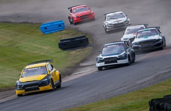 Topi Heikkinen and Kevin Hansen share the TitansRX spoils at Lydden Hill