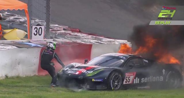 Rinaldi Ferrari #55 on fire and out at lap 13