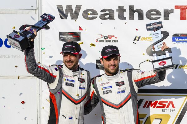 Victory for the Porsche 911 GT3 R, Porsche GT Team on the podium at Lime Rock Park