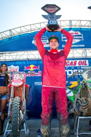 Team Honda HRC's Ken Roczen Celebrates Third-Place Finish at Fox Raceway