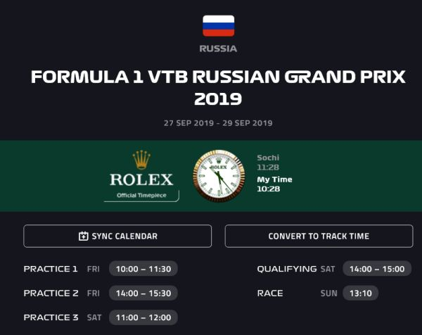 Timetable Russian Grand-Prix, Sochi