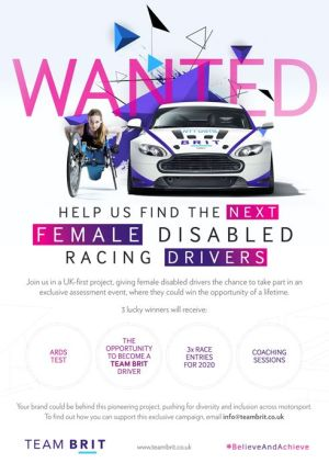 Team Brit - The next disabled female racing drivers, partners required