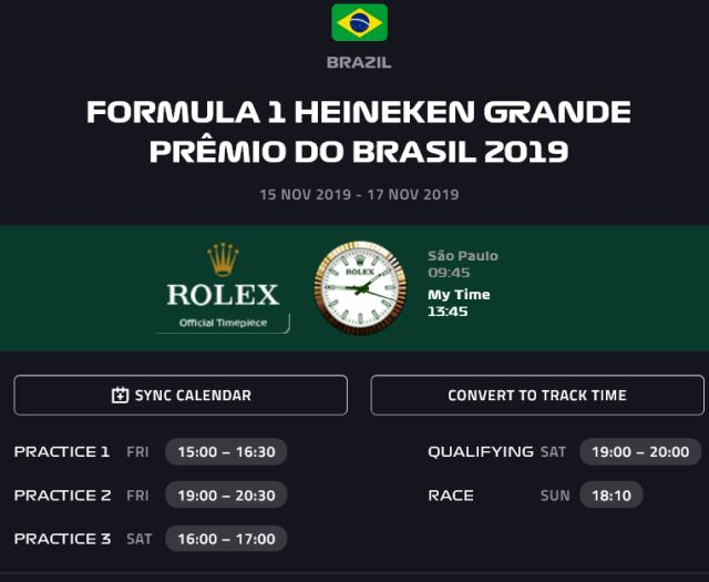 Brazilian Grand-Prix F1 timing