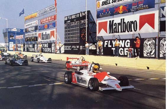 Ayrton Senna storms to victory in the first F3 Macau Grand Prix in 1983 in his Ralt-Toyota RT3