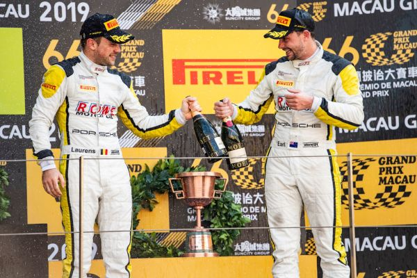 Podium for Laurens Vanthoor and Earl Bamber with the Porsche 911 GT3 R in Macau