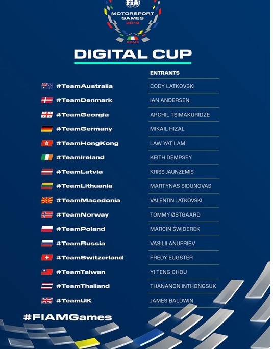 16 nations committed to Digital Cup in FIA Motorsport Games