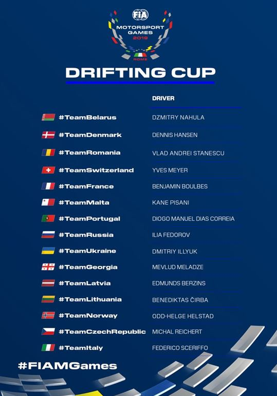 Drifting Cup field expands as seven more nations reveal drivers for FIA Motorsport Games