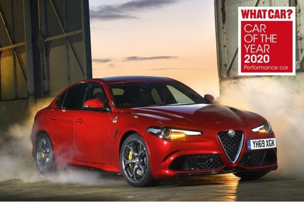 "Hat-trick for the Alfa Romeo Giulia Quadrifoglio at the ""What Car?"" magazine ""Car of the Year 2020"" awards"
