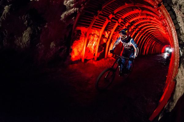 Marcelo Gutierrez riding the World's first underground downhill track in Colombia