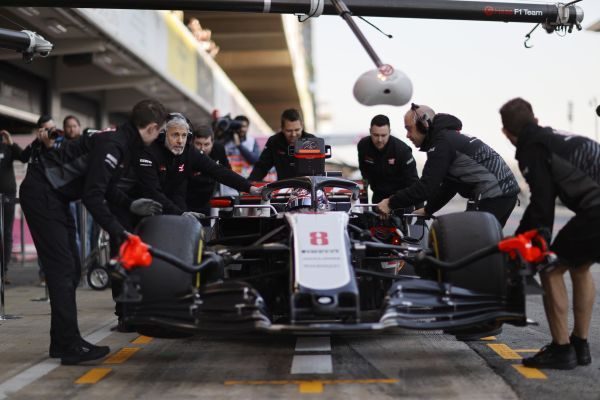 Haas F1 today out with Romain Grosjean in Barcelona F1 test 2, day 1