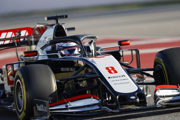 Haas F1 with the two drivers out at final test day in Barcelona