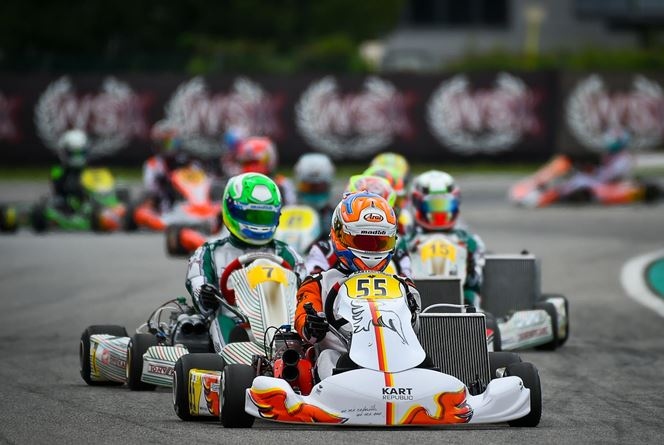 Everyone chasing Palomba in KZ2 at WSK Super Master Series at Adria
