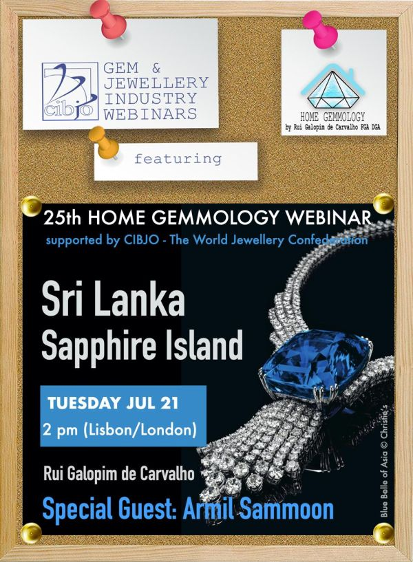 CIBJO invites you to join the 25th Home Gemmology webinar,looking at sapphires from Sri Lanka