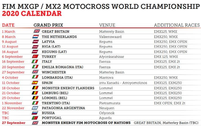 MXGP unveil the updated 2020 calendar - Finally racing