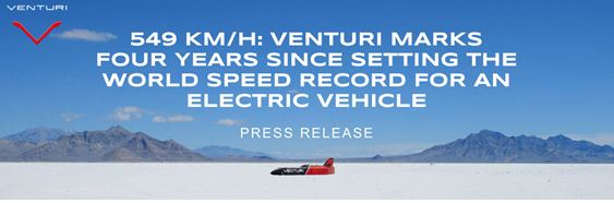 Venturi, the Monegasque constructor of high-performance electric vehicles, is celebrating the fourth anniversary of its world speed record.