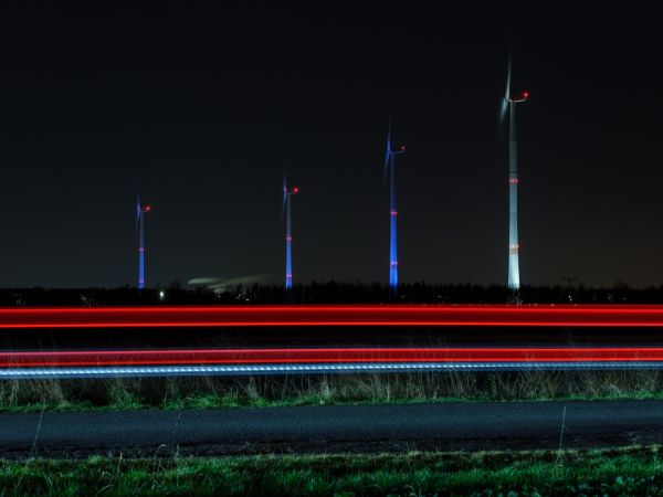Wind turbines at BMW Group Plant Leipzig light up as Advent candles.