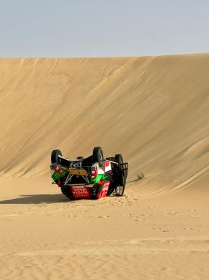 Overdrive Racing's Al-Rajhi and Orr crash out of Sharqiyah International Baja Toyota