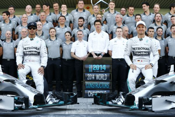 Mercedes benz celebrates one two victory in the formula 1 for Mercedes benz f1 drivers